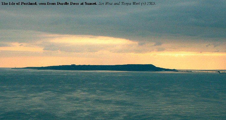 The Isle of Portland, Dorset, seen from Durdle Door at sunset