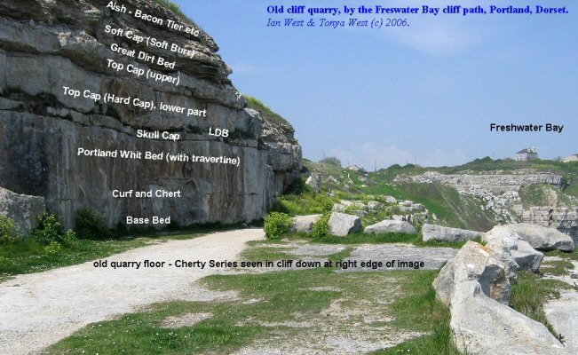 Cliff quarry with Portland Freestone and Purbeck Formation at the south side of Freshwater Bay, Isle Portland, Dorset