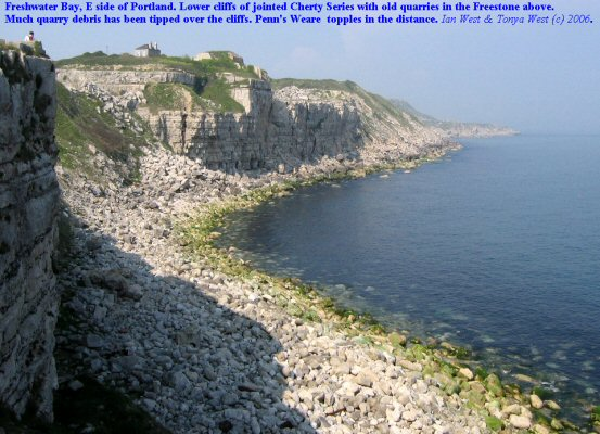 A view of the old quarries at Freshwater Bay, Isle of Portland, Dorset
