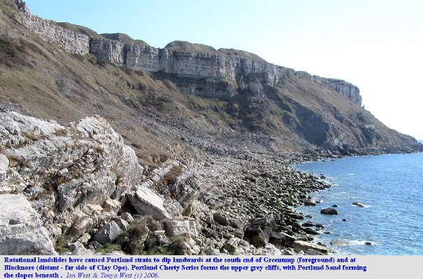Rotational Landslides at West Weare, in particular Greenump and also at Blacknore, Isle of Portland, Dorset