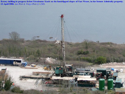 Rotary drilling taking place at East Weare, Portland, Dorset, on 13 April 2006