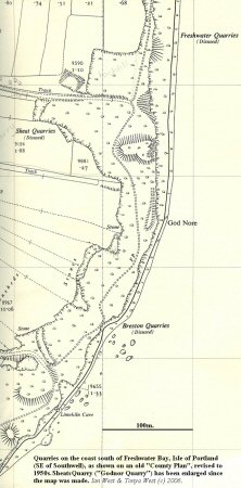 Old map showing cliffs south of Freshwater Bay, Isle of Portland, Dorset