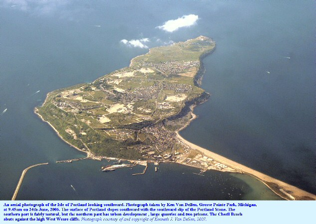 An aerial view of the Isle of Portland, Dorset, 2006, looking southward, photographed by Ken Van Dellen of Michigan