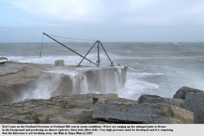 Storm waves at the Red Crane,Portland Bill, Dorset, produce a blow-hole effect in a fissure or enlarged joint, 2nd December 2007