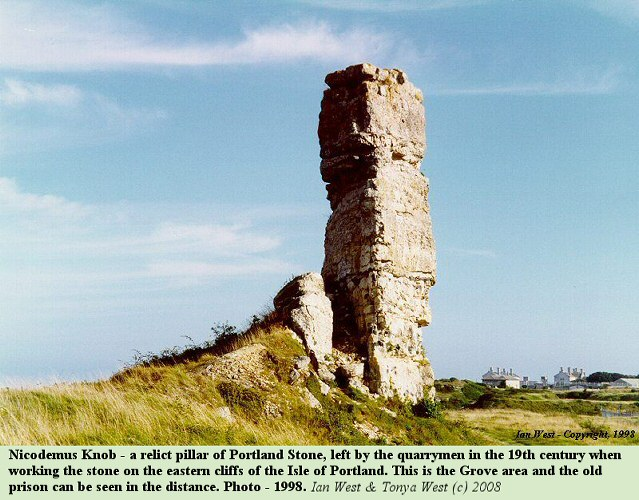 Nicodemus Knob, on the east coast of the Isle of Portland, as seen in 1998