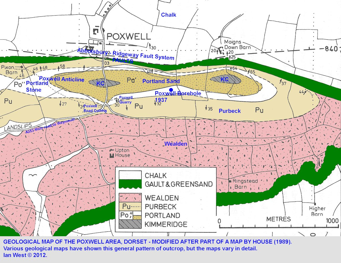 A large-scale geological map of the Poxwell area, modified after House (1989)