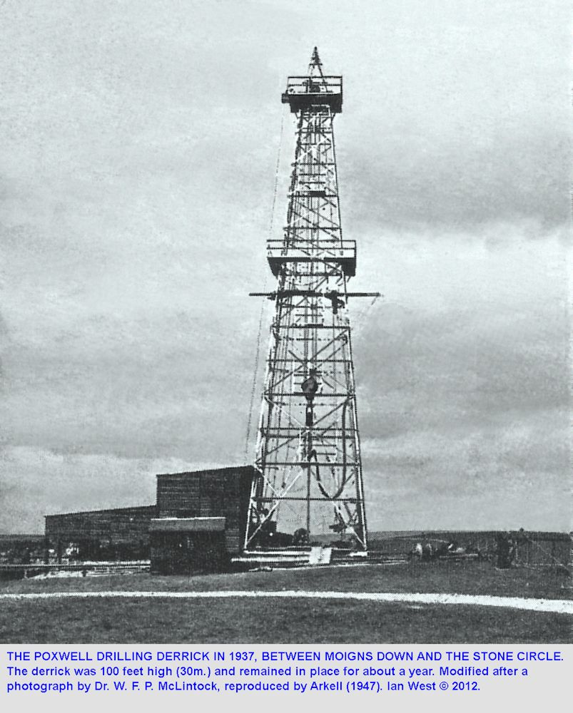 The drilling rig for the 1937 Poxwell Borehole at Poxwell Circus, northeast of Weymouth, Dorset