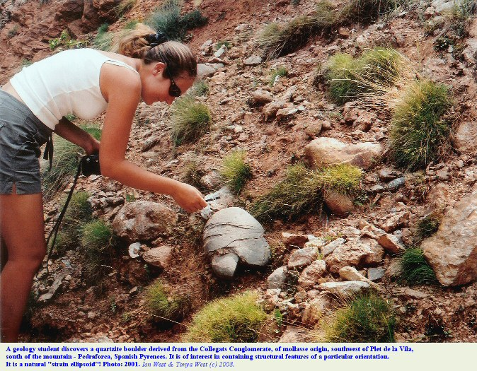 Question-Exercises - an unusual boulder from the Collegats Conglomerate, of mollasse origin, Spanish Pyrenees, 2001