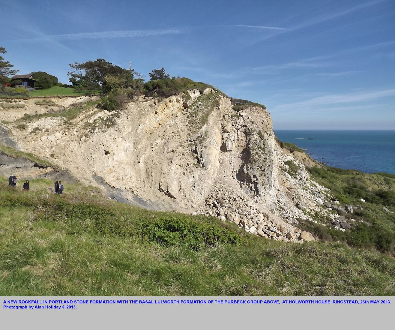 A rock fall in the Portland and Purbeck cliff section at Holworth House, Ringstead Bay, Dorset, 26th May 2013, photograph by Alan Holiday