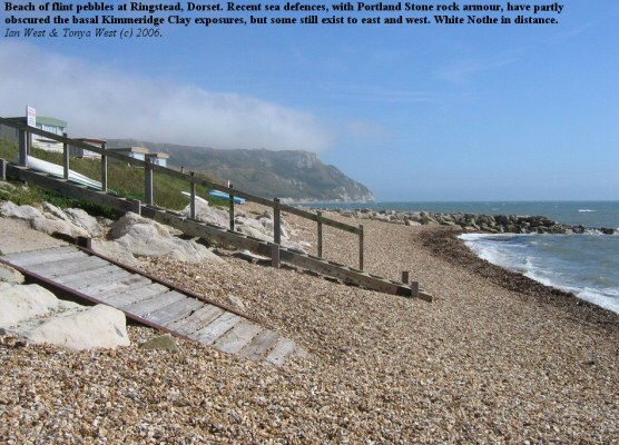 Beach at Ringstead, Dorset, with sea defences obscuring Kimmeridge Clay exposures, September 2006