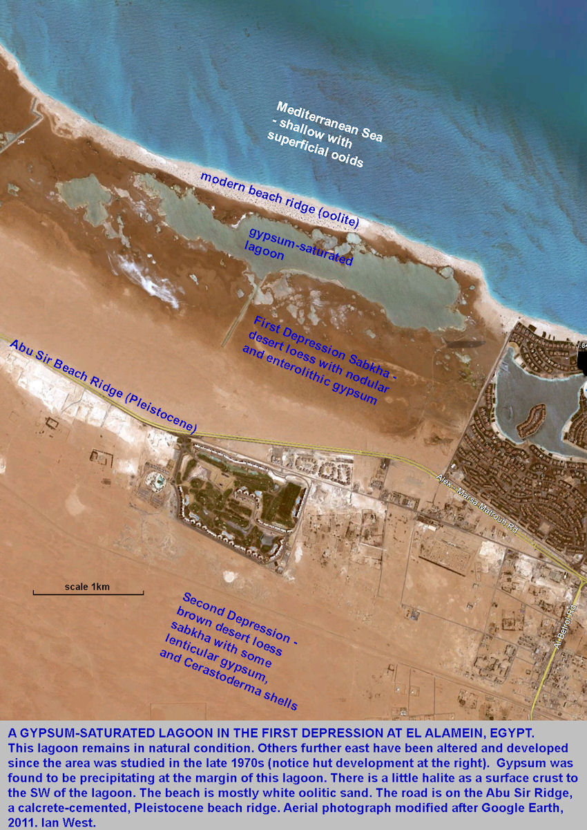 A gypsum-saturated lagoon with associated sabkha, at El Alamein, northern Egypt, aerial photograph