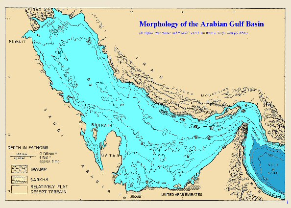 General morphology of the Arabian Gulf, based on old map