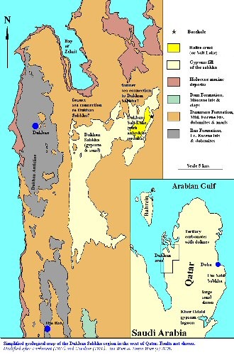 Simplified geological map of the region around the Dukhan Sabkha, Qatar