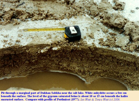 Shallow pit showing the profile through the top sabkha sediments with anhydrite, Dukhan Sabkha, Qatar