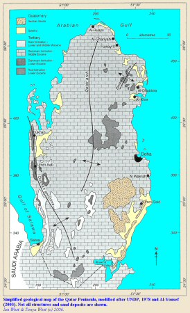 A simplified geological map of the Qatar peninsula