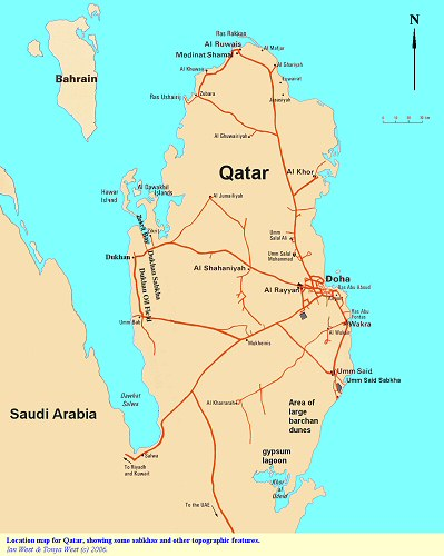A general location map for Qatar, showing the position of some sabkhas and other features