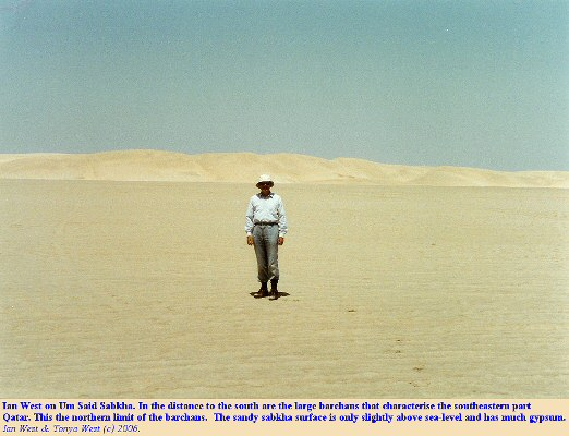 Um Said Sabkha, southeast Qatar, with large barchan dunes in the distance