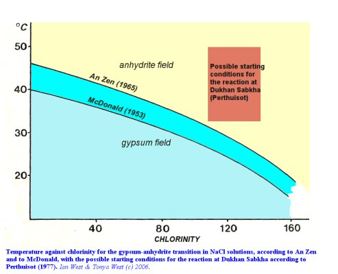 Probable conditions in the Dukhan Sabkha where the anhydrite occurs in relation to gypsum-anhydrite stability curves; after Perthuisot