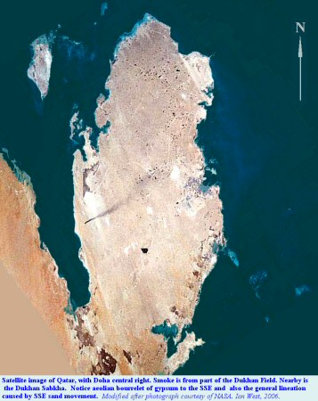 Satellite view of Qatar, showing the Dukhan Sabkha with a gypsum bourrelet to the south-southeast