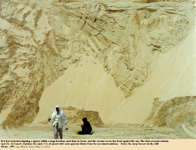 Hot work investigating the sediment in a quarry within a large barchan sand dune, Umm Said, Qatar, 1997
