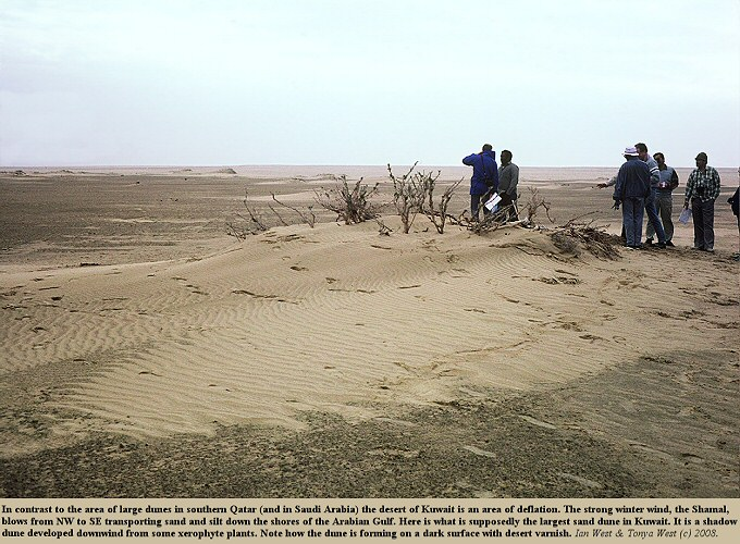 The supposedly largest sand dune in Kuwait, for contrast with the giant dunes of  Qatar