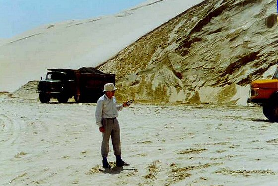 Quarry in a barchan, Umm Said , Qatar, 1997, with Ian West