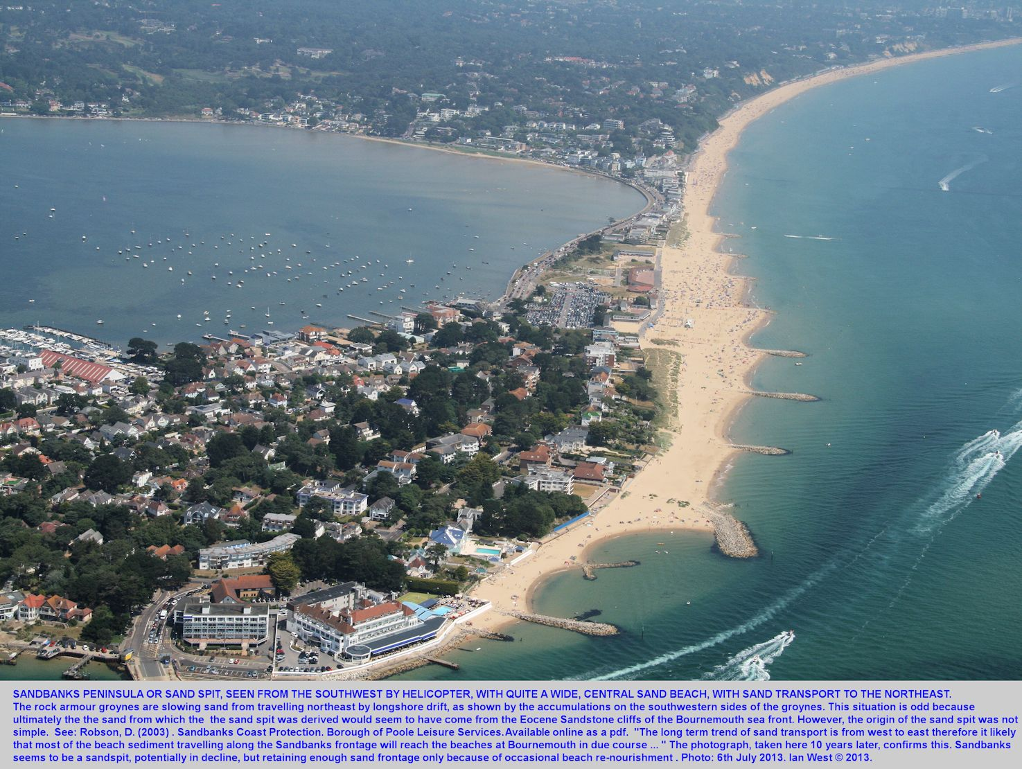 A helicopter view of the central part of the Sandbanks beach, Dorset, where there is some sand loss by longshore drift towards the northeast, photograph 6th July 2013