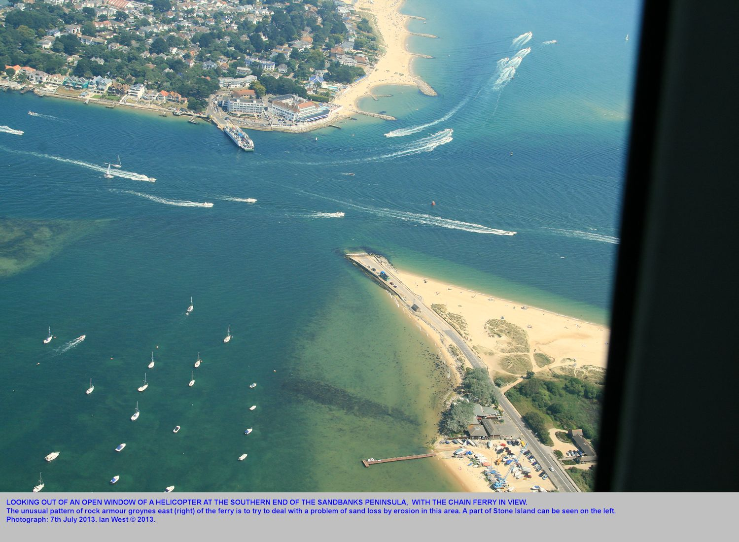 A helicopter view of the channel at the Chain Ferry, southern Sandbanks Peninsula, Dorset, 7th July 2013