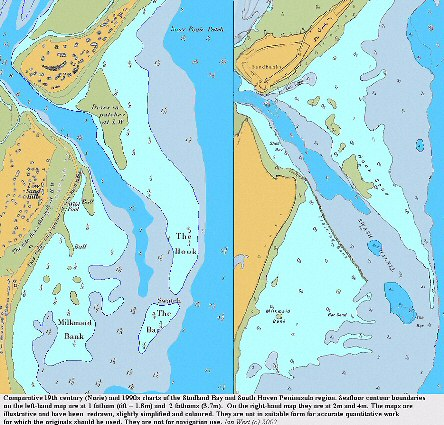 The entrance to Poole Harbour between Sandbanks and the South Haven Peninsula (Studland) - comparison of older and newer charts