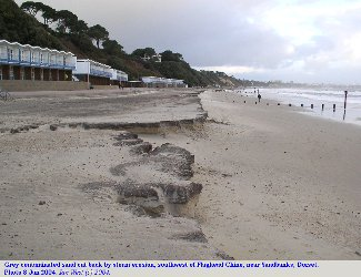 Erosion of grey contaminated sand between Flaghead Chine and Sandbanks, Dorset