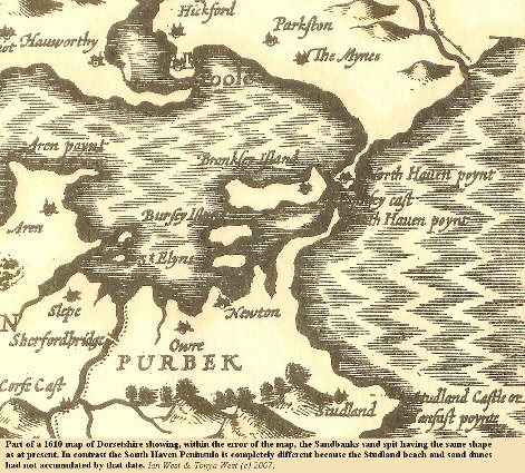 A 1610 map of Dorsetshire showing the Sandbanks sand spit having the same general morphology as at present
