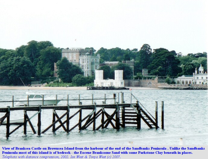 Branksea Castle  photographed from Sandbanks, using a telephoto lens and thus including some distance compression, 2002