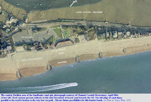 The central, Pavilion area of the Sandbanks sand spit, Dorset, showing a low area between sea and harbour