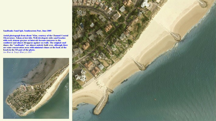 Wide sand beaches decreasing in width towards the SW, at the end of the Sandbanks sand spit