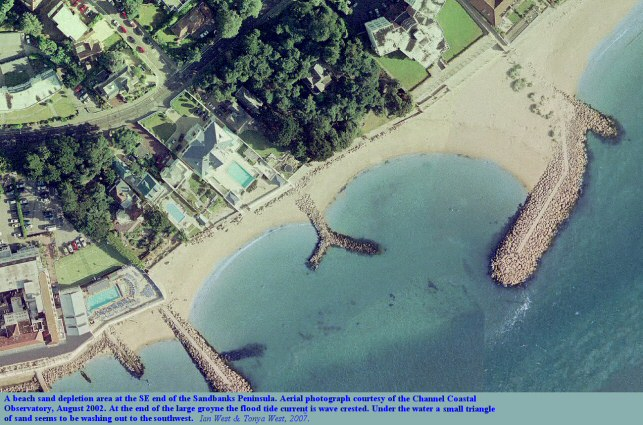 Southeastern coast of the Sandbanks Peninsula, Dorset, near the southern end, showing areas where there are sea walls and groynes but less beach sand, photograph courtesy of the Channel Coastal Observatory