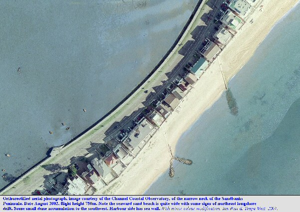 The narrow neck of the Sandbanks sand spit, Dorset, aerial view, courtesy of the Channel Coastal Observatory, 2002