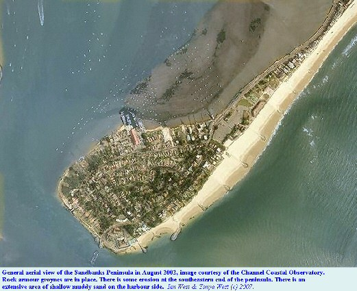 A general aerial photograph of the Sandbanks Peninsula in August 2002, Dorset, courtesy of the Channel Coastal Observatory
