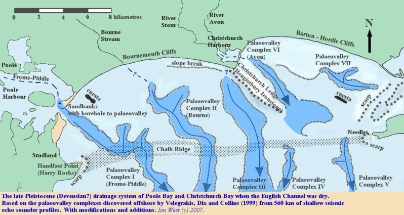 The Pleistocene palaeovalleys made by rivers flowing across Poole Bay and Christchurch Bay, English Channel, modified after Velegrakis et al. 1999