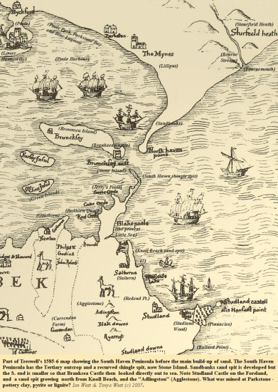 The North Haven Peninsula, Sandbanks, and the South Haven Peninsula, Studland as shown on part of Ralph Treswell's map of the Isle of Purbeck,  1585-6