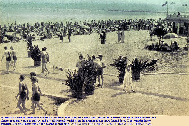 A crowded beach at the the Sandbanks Pavilion, Dorset, in summer 1934