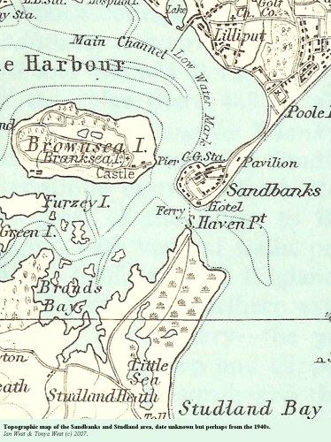 An old topographic map of the Sandbanks Peninsula, Dorset, probably from the 1940s or 1950s