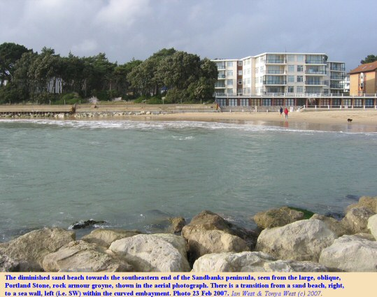 The beach diminishes at the southern end of the Sandbanks peninsula, Dorset, and there a transition SW to sea walls