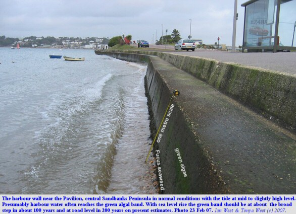 Present estimates of sea-level rise applied in a very approximate manner to the harbour wall opposite the Pavilion area, Sandbanks, Dorset, photo 23 February 2007, normal conditions