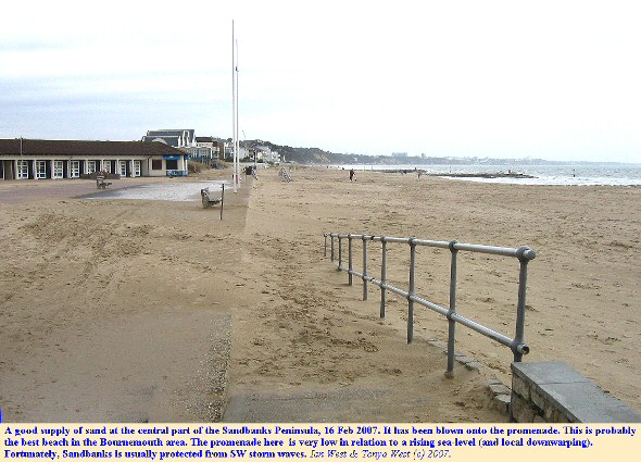 An excellent sand beach at the Sandbanks Pavilion, the central part of the Sandbanks Peninsula, Dorset, but with a promenade that is low in relation to a rising sea-level