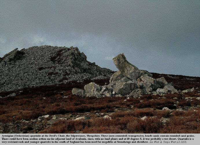 The Devil's Chair at the Stiperstones of Arenigian quartzite, Shropshire, England