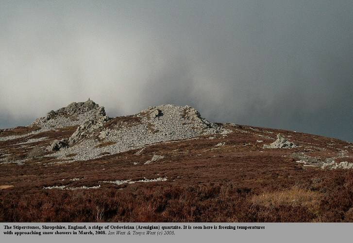 Stormy weather at the quartzite ridge of the Stiperstones, Shropshire, England