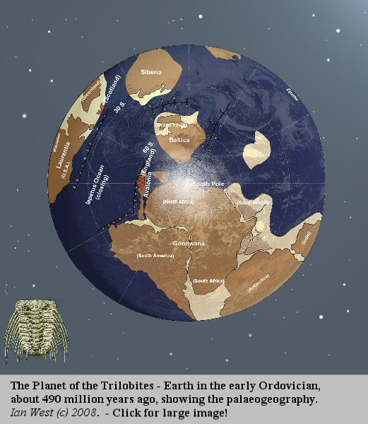 The Planet of the Trilobites - Earth in the early Ordovician Period, with its palaeogeography