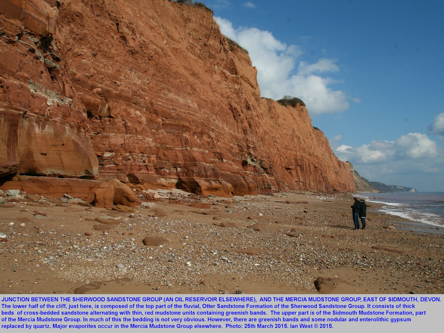 The junction between the Otter Sandstone Formation of the Sherwood Sandstone Group and the Sidmouth Mudstone of the Mercia Mudstone Group, east of Sidmouth, Devon