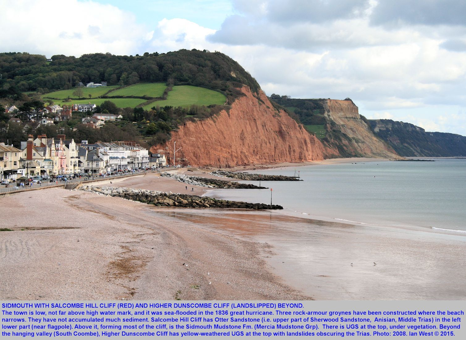A general view to the east at Sidmouth, Devon, showing Salcombe Hill Cliff and Higher Dunscombe Cliff, with Triassic strata overlain unconformably by Cretaceous Upper Greensand