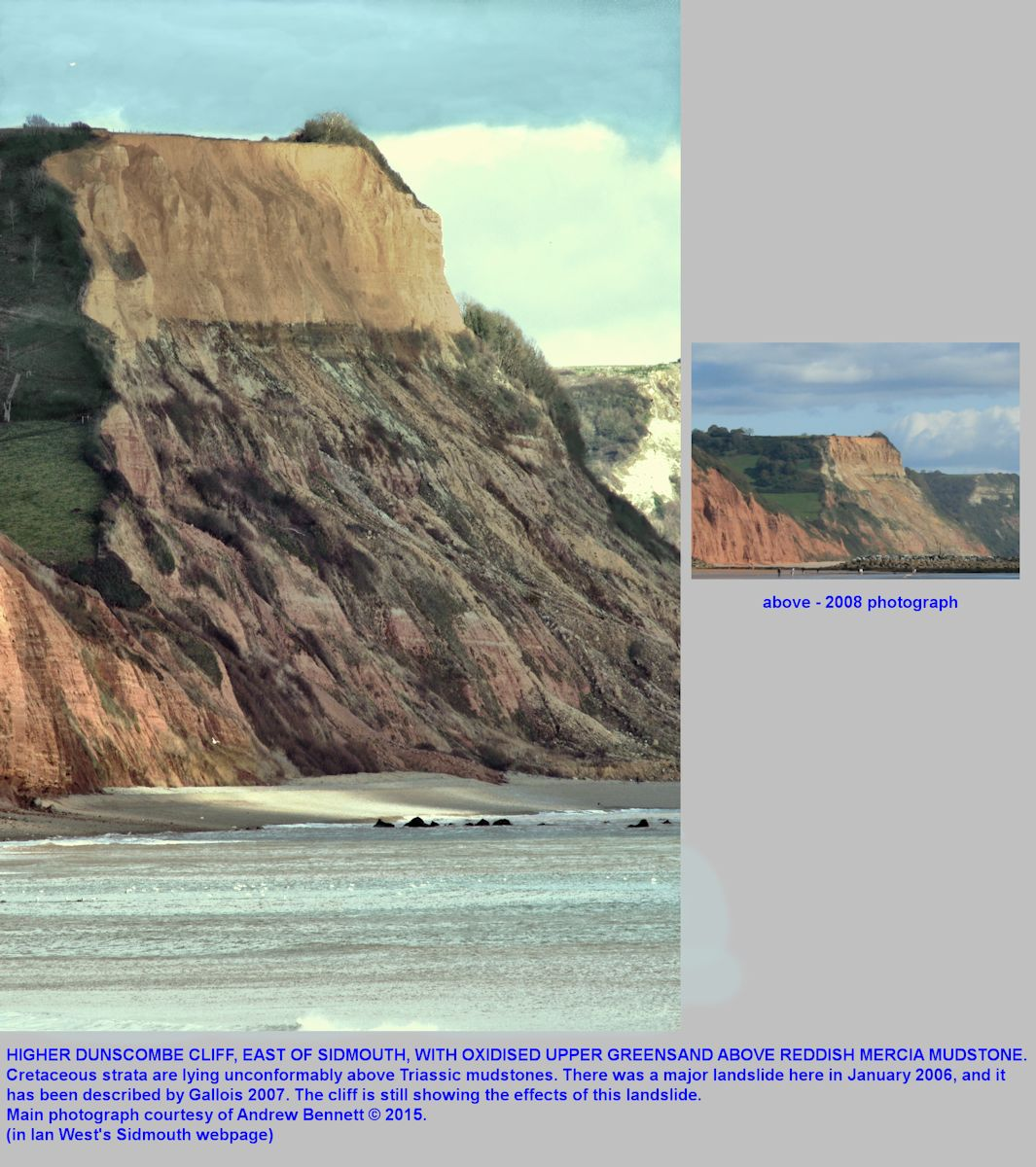 Higher Dunscombe Cliff east of Sidmouth, Devon, showing yellowish weathered Cretaceous Upper Greensand lying unconformably above Triassic Mercia Mudstone, also with the remains of a landslide in 2006